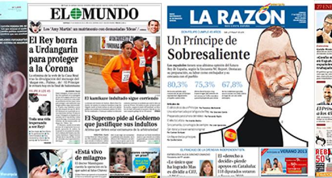 La prensa rinde pleitesía al príncipe Felipe con motivo de su cumpleaños