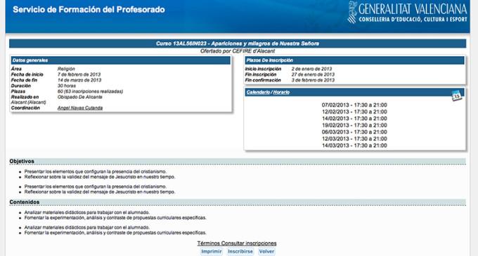 """Alicante ofrece formación a sus profesores sobre """"milagros de la Virgen"""""""
