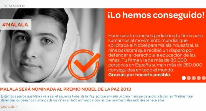 Malala, de camino al Nobel de la Paz