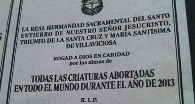 """Una hermandad de Sevilla pide una misa por """"las criaturas abortadas"""""""
