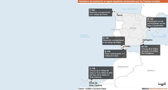 Las Fuerzas Armadas tienen seis vertederos de explosivos en aguas españolas