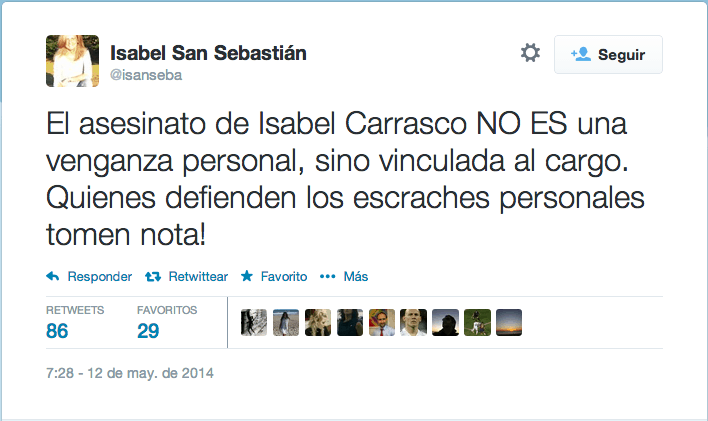 Tuit Isabel San Sebastian Isabel Carrasco escraches
