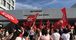 Fuerte presencial policial durante la huelga de limpieza en la Universidad Rey Juan Carlos