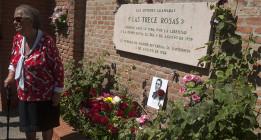 Trece rosas rojas y una blanca en memoria de 14 mujeres que lucharon por la democracia