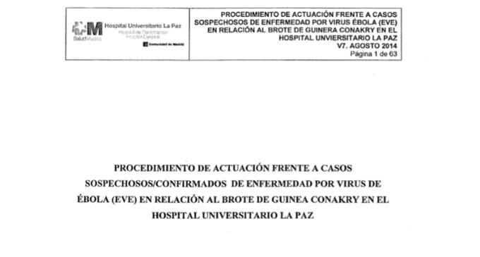 El protocolo interno de retirada del traje contra el ébola del Hospital La Paz