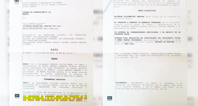 Inadmitida la querella de Miguel Reneses contra La Marea y Antonio Maestre