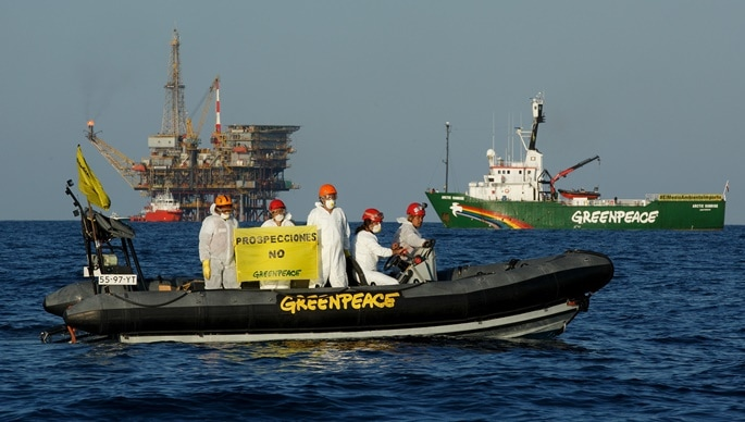 "26/06/2015. Tarragona, Spain. Greenpeace activists from the ship Arctic Sunrise, have protested peacefully in front of the rig ""Casablanca"" to ask Repsol for stoping oil exploration. Activists aboard inflatables, carried banners with the message in Spanish ""Prospecciones NO"" (""Oil drilling NO""). (© Greenpeace / Pablo Blazquez) 26/06/2015. Tarragona, Espa?a. Activistas de Greenpeace, procedentes del barco Arctic Sunrise, han protestado pac?ficamente frente a la plataforma petrol?fera Casablanca para pedir a Repsol el cese de las prospecciones petrol?feras. Los activistas, a bordo de z?diacs, portaban pancartas con el mensaje ÒProspecciones NoÓ. (© Greenpeace / Pablo Blazquez) © Greenpeace Handout - No Sales - No files - Editorial Use Only - Free Use Only for 14 days after release. Photo provided by Greenpeace, used only to illustrate news or comment on the facts or events depicted in this image. ©Greenpeace Handout Ð No Ventas Ð No Archivos - Uso Editorial Solamente Ð Uso Libre Solamente para 14 d?as despu?s de Liberaci?n. Foto proporcionada por GREENPEACE, uso solamente para ilustrar noticias o comentarios sobre los hechos o eventos representados en esta imagen."