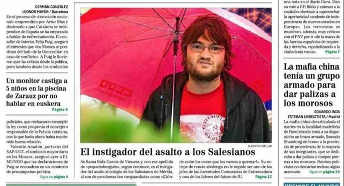 Detalle de la portada de El Mundo en la que se señalaba a Rafael González.