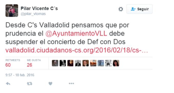 """Ciudadanos pide cancelar un concierto de Def con Dos en Valladolid por """"prudencia"""""""
