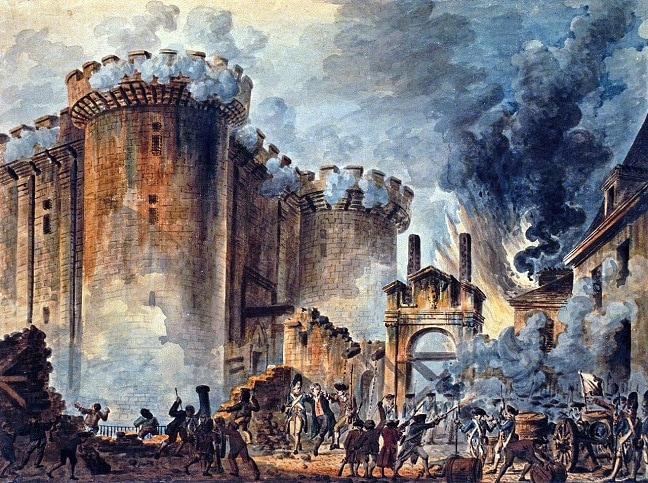 'Toma de la Bastilla'. Por Jean-Pierre Houël. BIBLIOTECA NACIONAL DE FRANCIA
