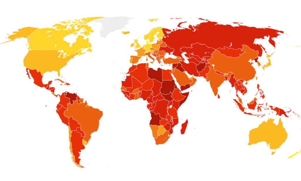 Mapa del Índice de Percepción de la Corrupción 2016 I La Marea