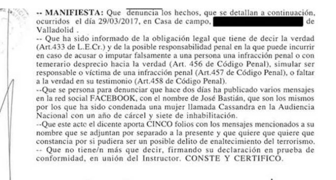 Un vecino de Valladolid se autoinculpa en una comisaría de enaltecimiento del terrorismo