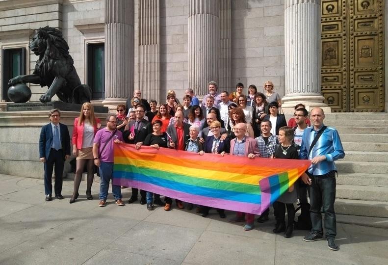 Colectivos y grupos posan tras el registro de la Ley de Igualdad LGTBI. FELGTB