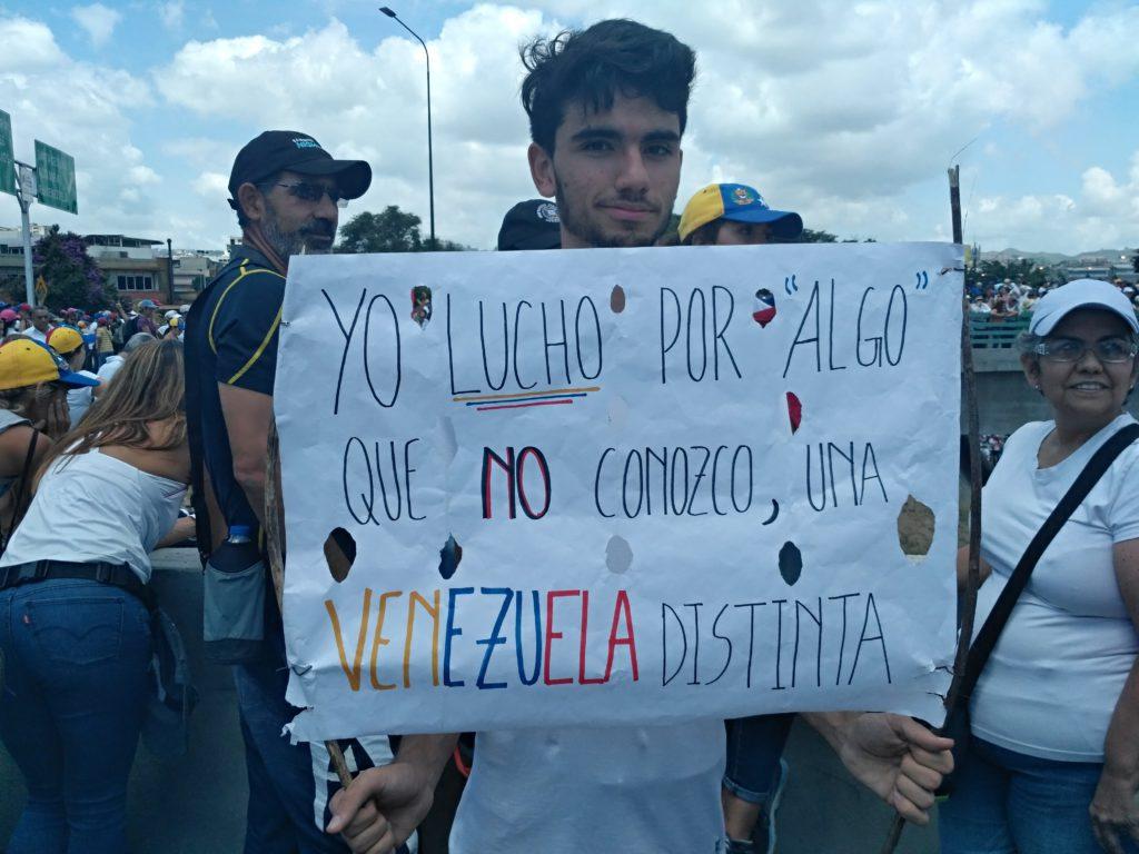 Manifestante venezolano contrario al gobierno. Foto: Manuel Rueda/Agência Pública.