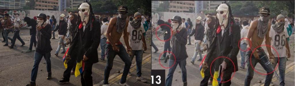 A la izquierda, la imagen original (EFE/Miguel Gutiérrez); a la derecha, foto manipulada en la que dos manifestantes portan armas.