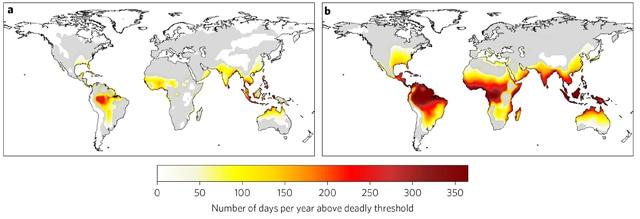 Infografía sobre días en los que las condiciones de calor y humedad pueden ser letales. Fuente: Global risk of deadly heat