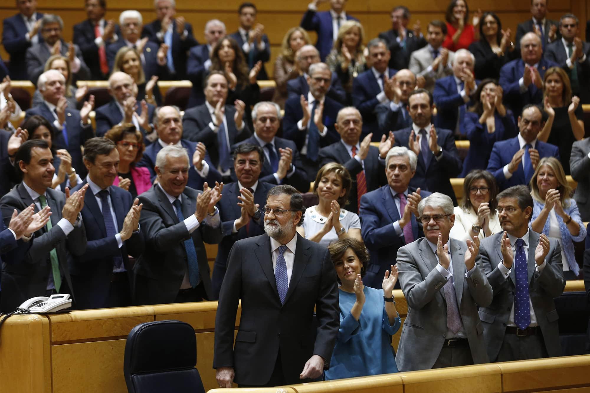 El presidente del Gobierno, Mariano Rajoy, tras su intervención en el Senado. Foto: Moncloa / Diego Crespo.