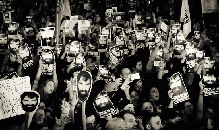 Concentración en Buenos Aires tras la desaparición de Santiago Maldonado. Foto: Walter Piedras.