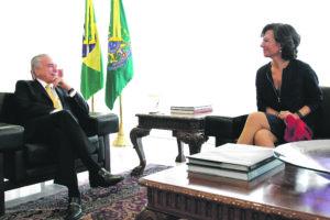 El presidente Michel Temer con Ana Botin, presidenta del Grupo Santander. Foto: Beto Barata/PR.
