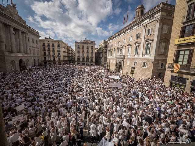 Concentración Parlem, en Barcelona, el 7 de octubre. Foto: Jorge Lizana / Fotomovimiento