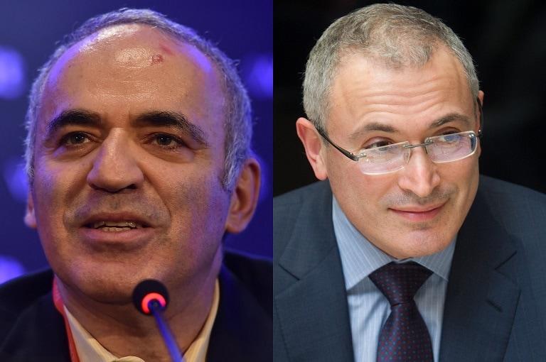 Kasparov (izquierda) y Jodorkovsky (derecha). Foto: Web Summit / Vygintas Skaraitis.