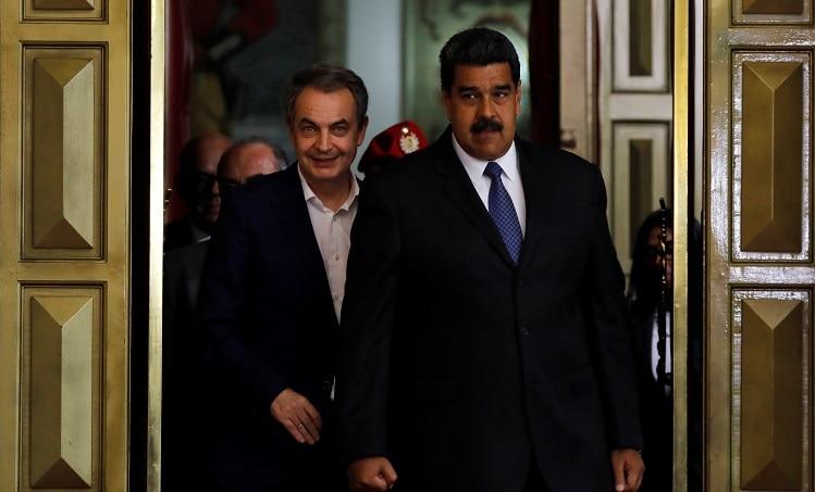 Reunión entre el presidente Nicolás Maduro y el expresidente José Luis Rodríguez Zapatero en Caracas. Foto: REUTERS/Carlos Jasso.